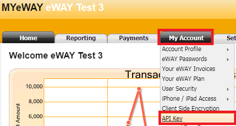 How do I set up my Live eWAY API Key and Password?